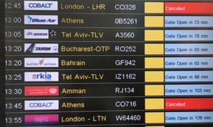A departure board displays cancelled Cobalt flights at Larnaca airport, Cyprus.