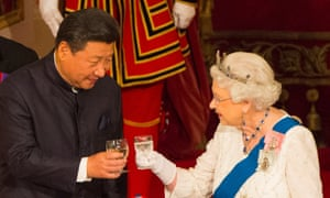 President of China Xi Jinping the Queen Elizabeth toast each other at a state banquet in Buckingham Palace.
