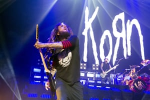 Brian Welch of Korn performs at Brixton Academy.