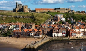 Whitby East Cliff with beach and Abbey.