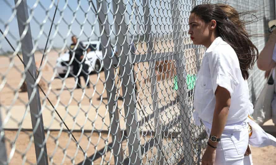 Alexandria Ocasio-Cortez at the Tornillo-Guadalupe port of entry gate on 24 June in Tornillo, Texas.