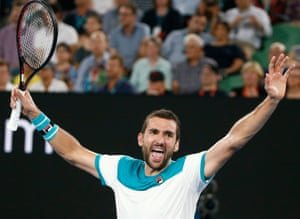 Cilic celebrates winning the match.