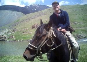 Jonny Bealby on horseback in Kyrgyzstan