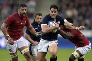 Scotland's John Hardie on the charge in Paris.