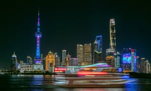 The night view of the Lujiazui area of Pudong, Shanghai.