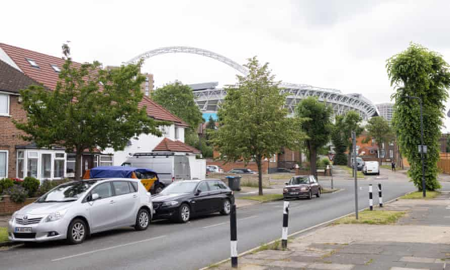 Street with Wembley arch in background
