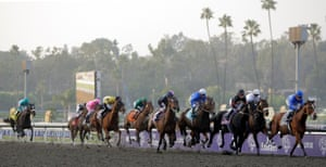 Zenyatta, ridden by Mike Smith is last as the field approaches the first turn during the 2009 Breeders' Cup Classic at Santa Anita Park in California. Zenyatta won the race.