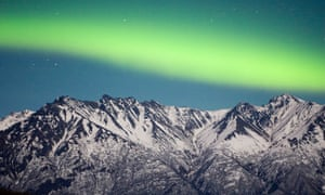 Green light for classics … band of Aurora stretches over the Chugach mountains near Palmer.