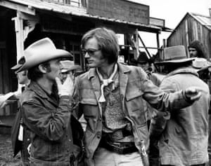 Dennis Hopper and Peter Fonda on set of The Last Movie, 1971