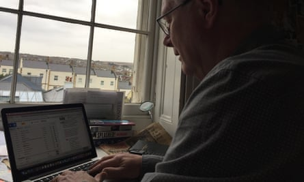 The blogger at his daily task.