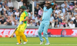 Jofra Archer of England looks frustrated after bowling to Australia at the Cricket World Cup