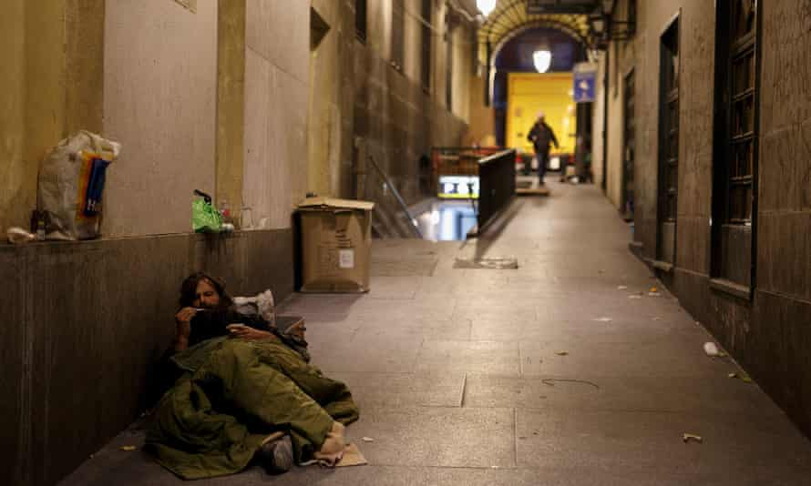 A homeless man in Madrid