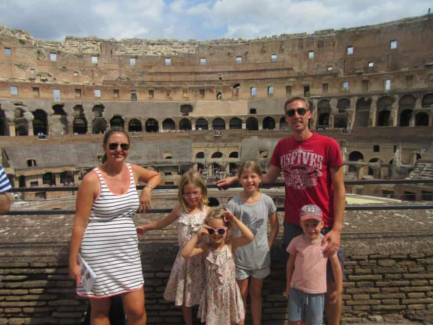 Daniel and Clair Prince and family at the Colosseum in Rome.