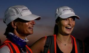 Margie Abbott and Bridget Abbott speak with the media prior to taking part in the Sydney Coast Trek commencing from Palm Beach on March 6, 2015 in Sydney, Australia.