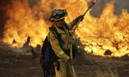 A firefighter battling the wildfire in Redding, California, which swept through the historic gold rush town of Shasta on Thursday.