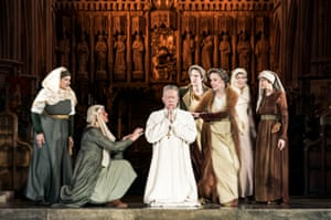 Jasper Britton, centre, as Thomas Becket in Murder in the Cathedral.