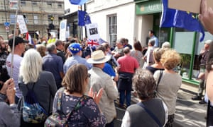 Protesters outside Tory MP Alex Chalk's office in Cheltenham on Thursday after the prorogation of parliament.