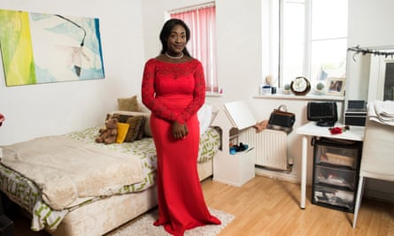 'I wear lots of different colours but red is good on me' ... Nicole Ekwensi at home in Milton Keynes.