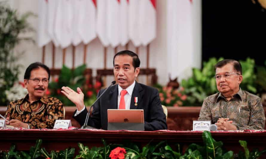 President Joko Widod announces the location of the country's new capital city during a press conference in Jakarta.