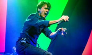 Brett Anderson of Suede performs at Eventim Apollo on 12 October 2018 in London, England.