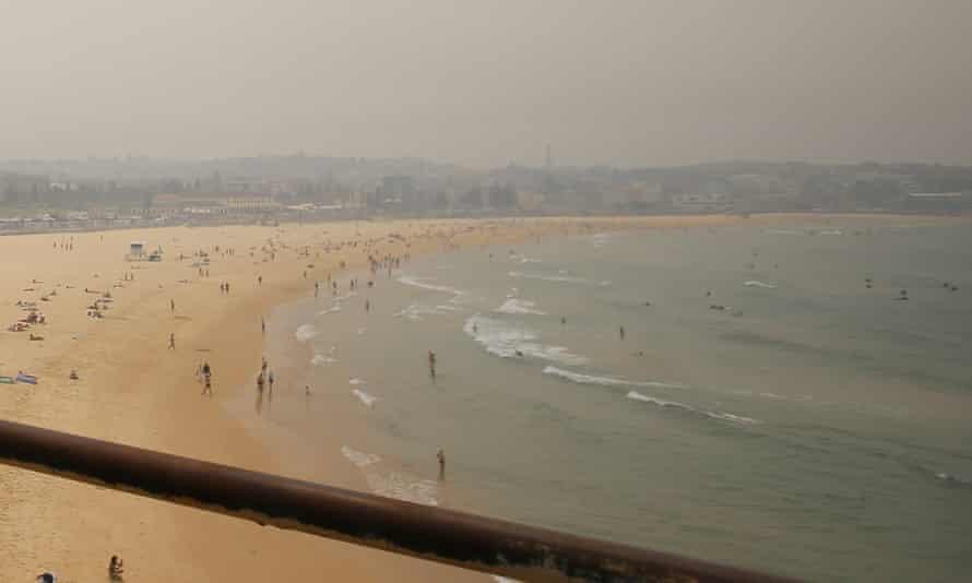 Smoke haze from bushfires in New South Wales is seen over Bondi Beach, December, 2019