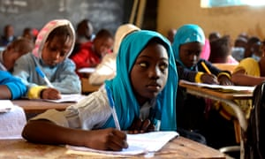Pupils attend class at a primary school in Pikine, on the outskirts of Dakar, on 30 January 2018.