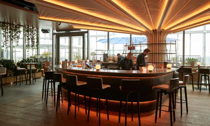 The bar at 20 Stories: 'Makes you feel as if you're drinking chablis on the Death Star.'