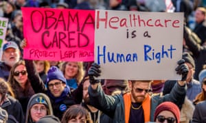 Protesters demonstrating in New York against the changes proposed to the American healthcare system by the Republicans.