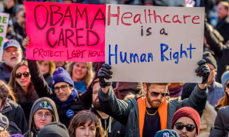 Activists protest against efforts to dismantle the Affordable Care Act last year.