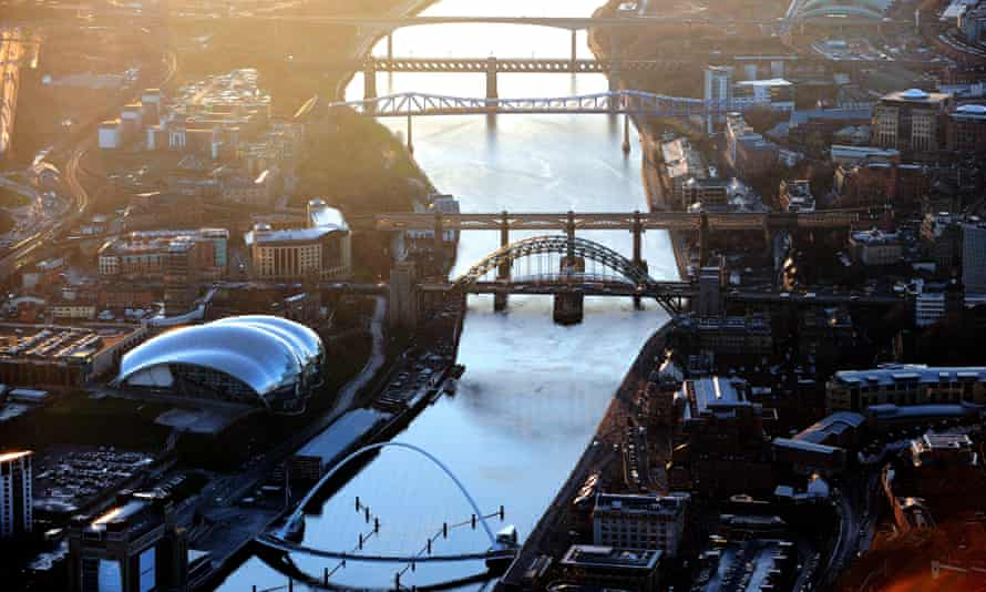 Aerial view of Newcastle area and the bridges crossing the Tyne.