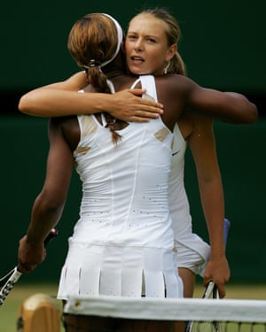 Maria Sharapova hugs Serena Williams after the 2004 Wimbledon final