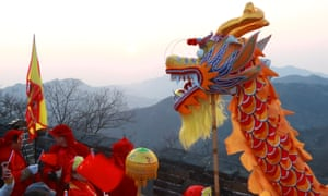 A dragon dance on the Great Wall to celebrate the new year