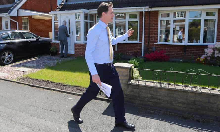 Nick Clegg delivers Liberal Democrats party leaflets in Stockport in 2014