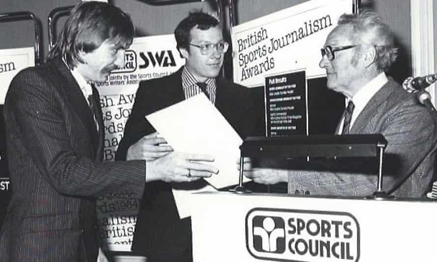 Chris Nawrat, left, at the British Sports Journalism Awards