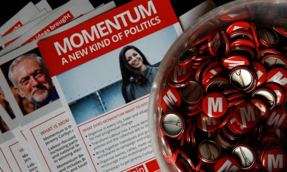 Badges and leaflets for Momentum in 2016.