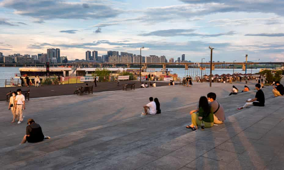 Han River Park in Seoul, South Korea, where Covid cases are at record highs