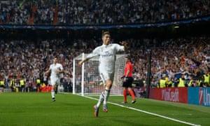 Ronaldo celebrates after scoring the vital second.