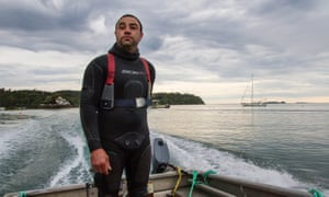 Paua diver Luke Simeon says he is sometimes scared to dive because of the increased interest of great white sharks off Stewart Island.