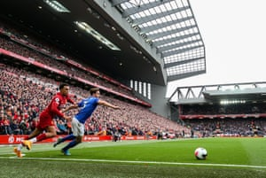 Trent Alexander-Arnold beats Leicester City's Ben Chilwell at Anfield on Saturday