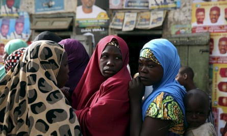 Women waiting to register to vote in Kano, 2015.