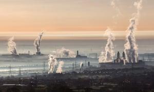 The industrial landscape across the Dee estuary.