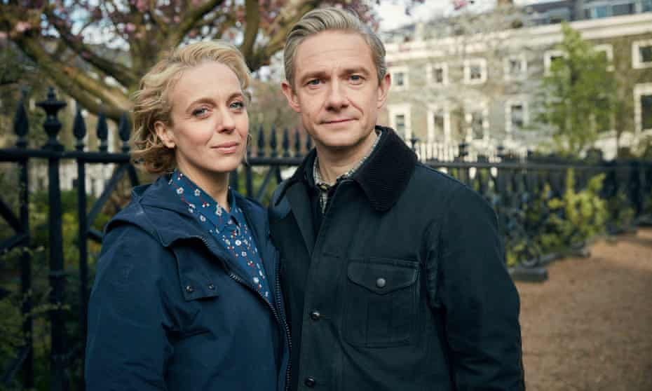 Freeman with former partner Abbington, left, in a BBC publicity shot for Sherlock.
