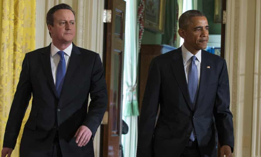 David Cameron and Barack Obama arrive for a joint press conference at the White House, Washington, in January 2015