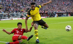 Dan-Axel Zagadou, the Borussia Dortmund central defender, was out of his depth against Bayern.
