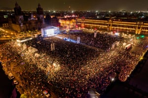 Supporters illuminate Zócalo square in Mexico City after the preliminary results were announced