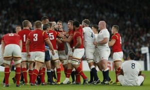 There's a bit of disagreement between the teams after Dan Lydiate's tackle on Tom Wood.