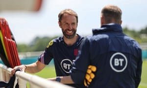 Gareth Southgate is all smiles at England training.