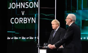 British Prime Minister and Conservative party leader Boris Johnson (L) and Labour Party leader Jeremy Corbyn during a live ITV debate last week