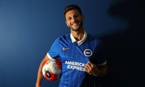 Adam Lallana modelling the new Brighton and Hove kit