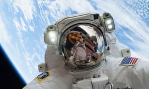 Astronaut Mike Hopkins during a spacewalk from the ISS in December 2013.